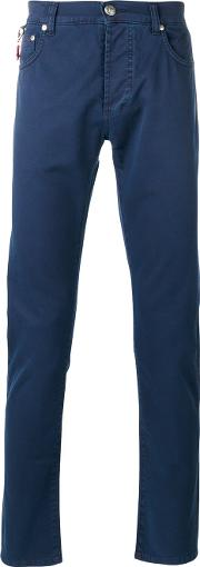 Isaia , Classic Chinos Men Cottonspandexelastane 54, Blue