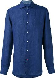 Isaia , Classic Shirt Men Linenflax 40, Blue