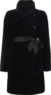 J Mendel , J. Mendel Sheared Reversible Coat Women Mink Furnylon 12, Black