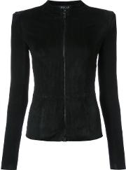 Jitrois , Fitted Jacket Women Suede 40, Black