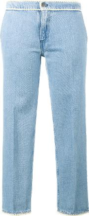 Journe , Journe Cropped Jeans With Piping Women Cotton 40, Blue