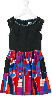 Junior Gaultier , Printed Flared Dress Kids Cottonviscose 6 Yrs, Blue