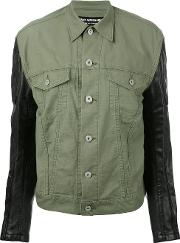 Junya Watanabe Comme Des Garcons , Faux Leather Sleeve Jacket Women Cottonpolyurethaneartificial Leather S, Green