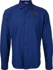 Jupe By Jackie , Embroidered Figure Shirt Men Cotton M, Blue