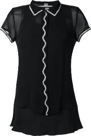 Jupe By Jackie , Embroidered Trim Sheer Shirt Women Silk 2, Women's, Black