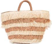 Kayu , Layered Fringed Beach Tote Women Straw One Size, Brown
