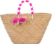 Kayu , Pompom Woven Beach Tote Women Straw One Size, Brown