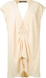 Kitx , Gathered Front Blouse Women Silk 14, Nudeneutrals