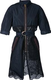 Kolor , Belted Lace Panel Coat Women Cotton 2, Black