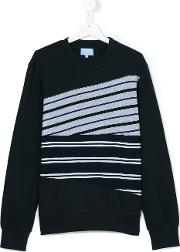 Lanvin Petite , Striped Sweatshirt Kids Cotton 14 Yrs, Blue