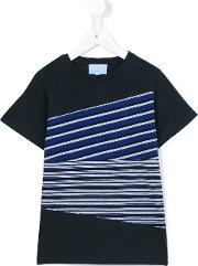 Lanvin Petite , Striped T Shirt Kids Cotton 10 Yrs, Blue
