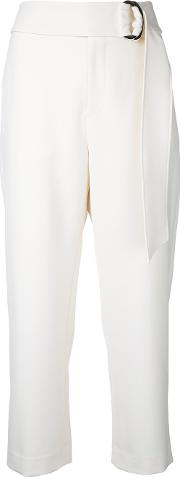 Le Ciel Bleu , Relaxed Belted Trousers Women Polyesterpolyurethane 38, White