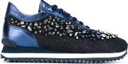 Le Silla , Crystal Embellished Trainers Women Leathercottonrubber 36, Blue