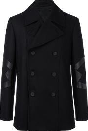 Les Hommes , Panelled Double Breasted Coat Men Viscoseleatherpolyestercashmere 48, Black