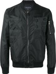Letasca , Zip Bomber Jacket Men Cotton M, Black