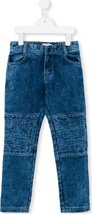 Little Marc Jacobs , Quilted Panel Jeans Kids Cottonleatherpolyesterviscose 12 Yrs, Blue