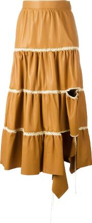 Loewe , Cut Out Detail Ruffled Skirt Women Cottoncalf Leather 36, Brown