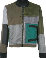 Longjourney , Patched Bomber Jacket Men Cottonpolyestercalf Leather M, Green