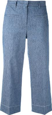 Lorena Antoniazzi , Cropped Trousers Women Cottonlinenflaxcupropolyester 42, Blue