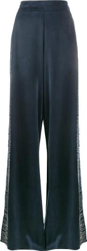 Lot78 , Line Embroidered Wide Leg Trousers Women Cuproviscose 26, Blue