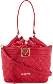 Love Moschino , Drawstring Quilted Shoulder Bag Women Polyurethane One Size, Red