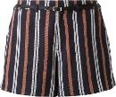 Striped Belted Shorts Women Linenflaxrayon 34, Blue