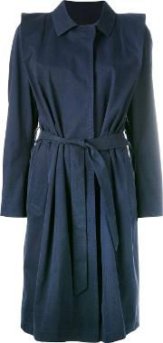 Lutz Huelle , Belted Coat Women Cotton S, Blue