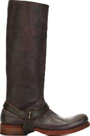 Ma , Buckle Detail Knee Boots Women Leather 38, Brown