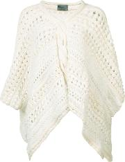 Maiyet , Loose Knit Poncho Women Cottonlinenflaxpolyester One Size, White