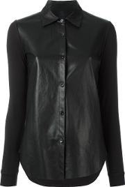 Majestic Filatures , Contrast Panel Shirt Women Cottonleathermodal 2, Black