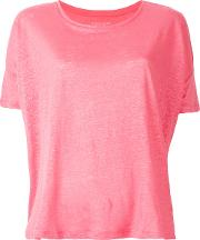 Majestic Filatures , Plain T Shirt Women Linenflax 1, Pinkpurple