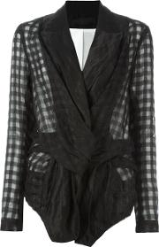 Marc Le Bihan , Deconstructed Checked Blazer Women Silkcotton 38, Black