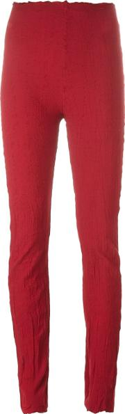 Marc Le Bihan , Raw Edge Leggings Women Silknylonspandexelastane 36, Red