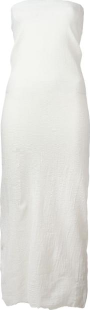 Marc Le Bihan , Raw Edge Strapless Dress Women Silkpolyesterspandexelastane 36, White