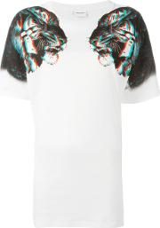 Marcelo Burlon County Of Milan , Tiger Print T Shirt Women Cottonpolyester S, White