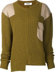 Marios , Asymmetric Patch Sweater Women Nylonviscosecashmerewool L, Green