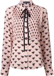 Markus Lupfer , All Over Bee Print Shirt Women Silk L, Pinkpurple