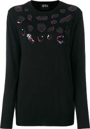 Markus Lupfer , Sequined Jumper Women Wool M, Black
