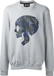 Markus Lupfer , Skull Print Sweatshirt Men Cotton L, Grey