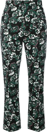 Marni , Poetry Flower Printed Trousers Women Cottonlinenflax 40, Green