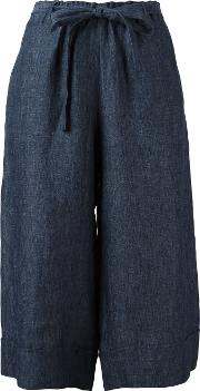 Masscob , Cropped Palazzo Pants Women Linenflax 38, Blue