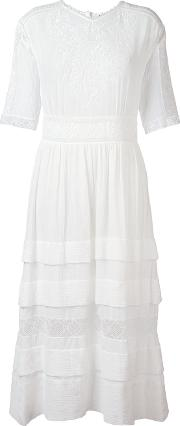 Masscob , Long Embroidered Dress Women Cotton S, White