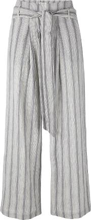 Masscob , Striped Cropped Trousers Women Cottonhemp 38, Blue