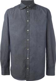 Massimo Alba , Crinkle Shirt Men Cotton L, Blue