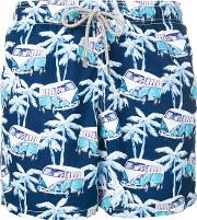 Mc2 Saint Barth , Anchor Printed Swim Shorts Men Polyamidepolyesterspandexelastane Xxxl, Blue