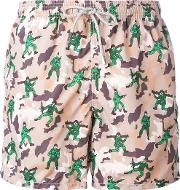 Mc2 Saint Barth , Military Print Swim Shorts Men Polyamidepolyesterspandexelastane Xxl, Nudeneutrals