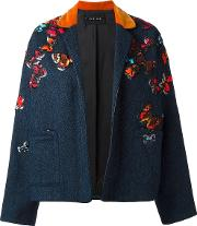 Michel Klein , 'butterflies' Embroidered Jacket Women Wool 36, Blue