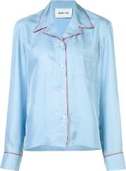 Michel Klein , Contrasting Shirt Women Silk 36, Blue