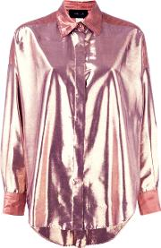 Michel Klein , High Shine Shirt Women Lurexpolyamide 38, Pinkpurple