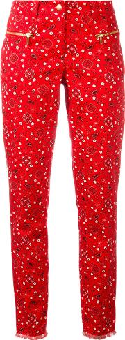 Michel Klein , Paisley Print Cropped Trousers Women Cottonspandexelastane 38, Red